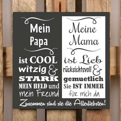 Factory4Home Schild-Set BD-Mein Papa und meine Mama, Typographische Kunst in Schwarz