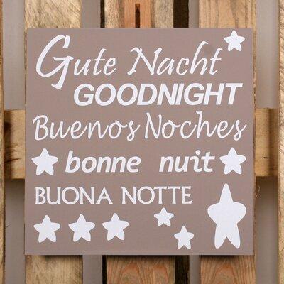 Factory4Home Schild-Set BD-Gute Nacht, Typographische Kunst in Taupe