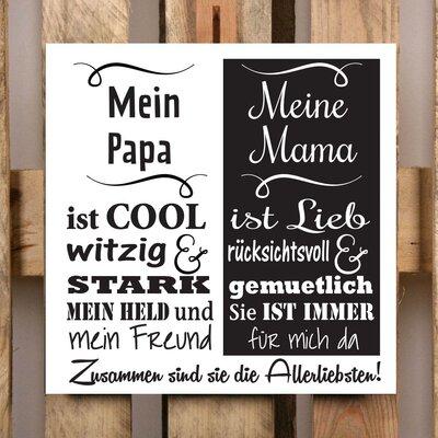 Factory4Home Schild-Set BD-Mein Papa und meine Mama, Typographische Kunst in Weiß