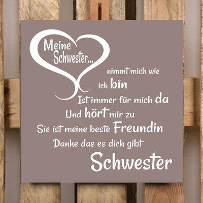 Factory4Home Schild-Set BD-Meine Schwester, Typographische Kunst in Taupe