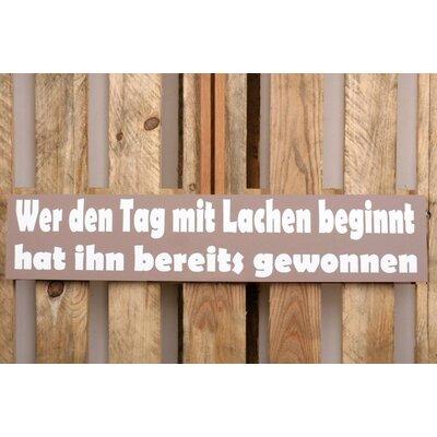 Factory4Home Schild-Set BD-Wer den Tag mit Lachen beginnt, Typographische Kunst in Taupe