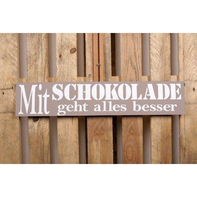 Factory4Home Schild-Set BD-Mit Schokolade, Typographische Kunst in Taupe
