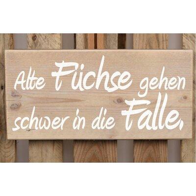 Factory4Home Schild-Set BD-Alte Füchse, Typographische Kunst
