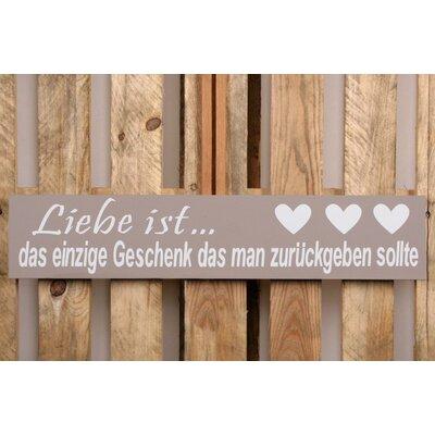 Factory4Home Schild-Set BD-Liebe ist…, Typographische Kunst in Taupe