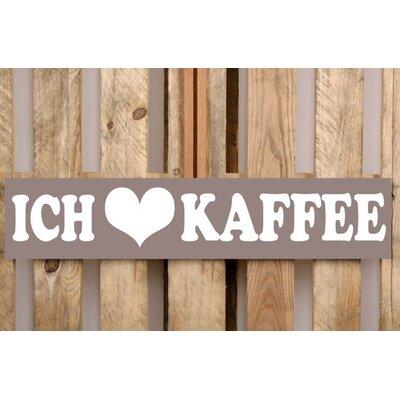Factory4Home Schild-Set BD-Ich liebe Kaffee, Typographische Kunst in Taupe