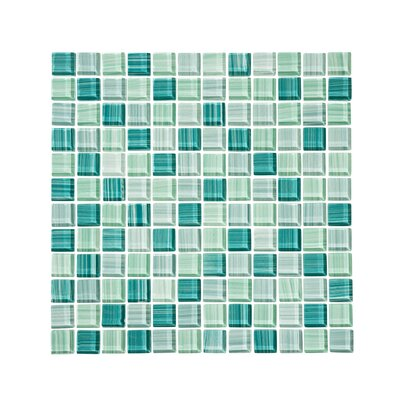 "Tropical Reflections Hand Painted 1"" x 1"" Glass Mosaic Tile in Green"