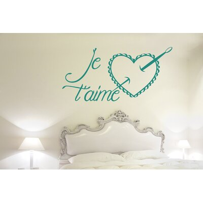 Cut It Out Wall Stickers Je Taime Needle and Heart Pillow Wall Sticker