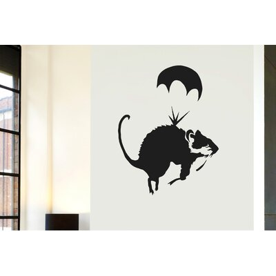 Cut It Out Wall Stickers Banksy Rat Parachute Wall Sticker