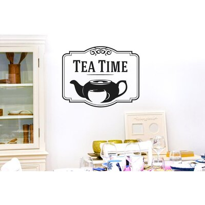 Cut It Out Wall Stickers Tea Time with Tea Pot and Cup Wall Sticker