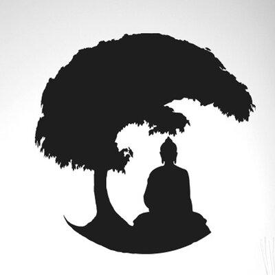 Cut It Out Wall Stickers Gautama Buddha Under Bonsai Tree Wall Sticker