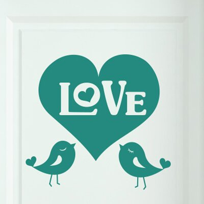 Cut It Out Wall Stickers Big Love Heart with Two Cute Birds Door Room Wall Sticker