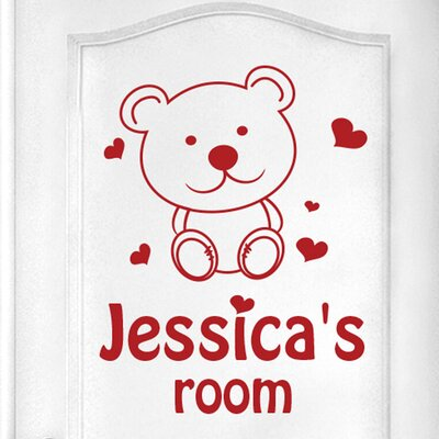Cut It Out Wall Stickers Personalised Cute Teddy Bear Kids Door Room Wall Sticker