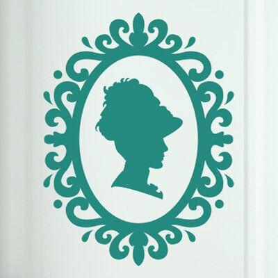 Cut It Out Wall Stickers Lady Profile in Art Nouveau Frame Door Room Wall Sticker