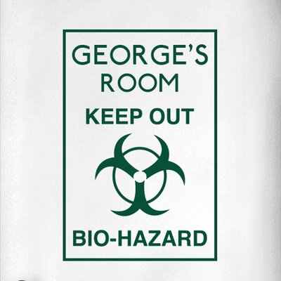 Cut It Out Wall Stickers Personalised Keep Out Bio Hazard Boys Door Room Wall Sticker
