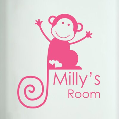 Cut It Out Wall Stickers Personalised Monkey Girls Door Room Wall Sticker