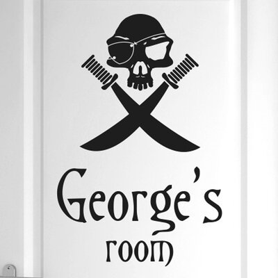 Cut It Out Wall Stickers Personalised Pirate Skull with Swords Door Room Wall Sticker