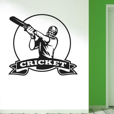 Cut It Out Wall Stickers Cricket Player Wall Sticker