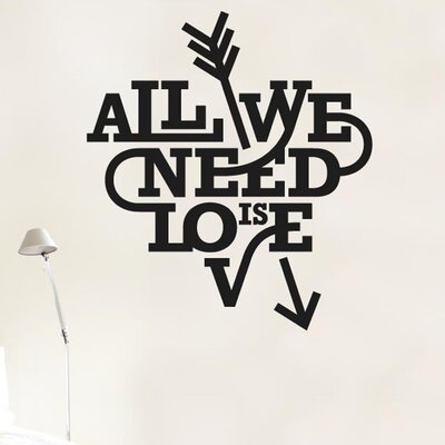 Cut It Out Wall Stickers All We Need Is Love Heart And Arrow Wall Sticker