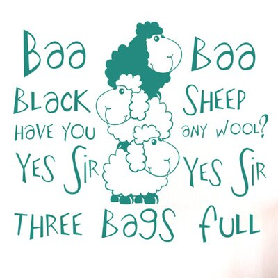 Cut It Out Wall Stickers Nursery Rhyme Baa Baa Black Sheep Have You Any Wool Wall Sticker