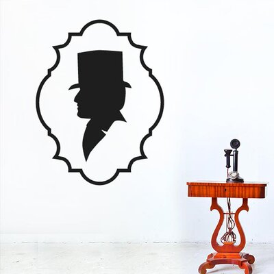 Cut It Out Wall Stickers Gentleman Top Hat Side Profile Wall Sticker