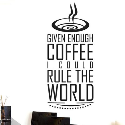 Cut It Out Wall Stickers Given Enough Coffee I Could Rule World Wall Sticker