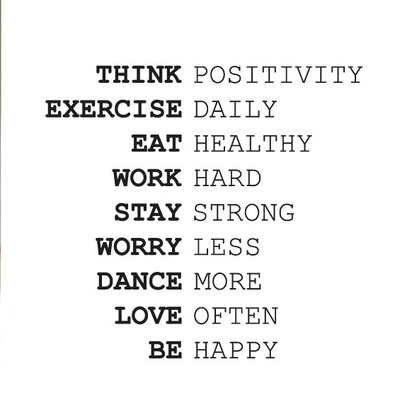 Cut It Out Wall Stickers Think Positivity Exercise Daily Work Hard Wall Sticker