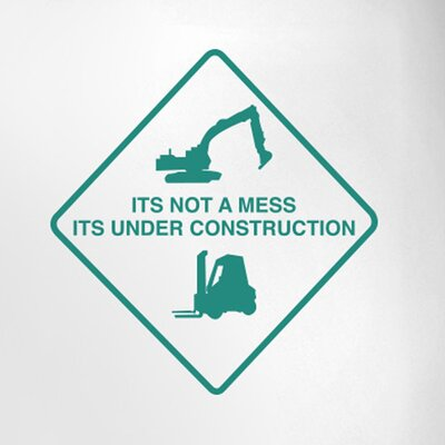 Cut It Out Wall Stickers It's Not a Mess It's Under Construction Sign Door Room Wall Sticker