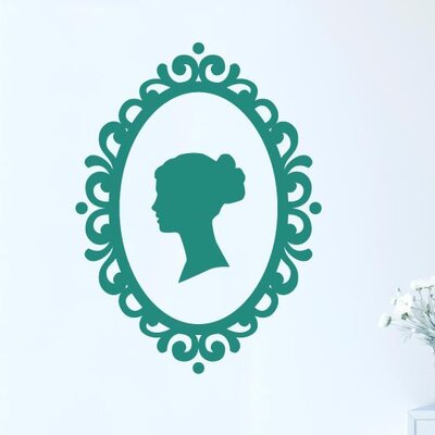 Cut It Out Wall Stickers Womans Profile In Art Nouveau Frame Wall Sticker