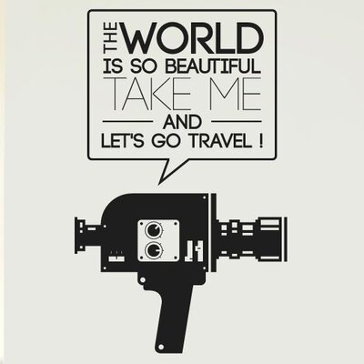 Cut It Out Wall Stickers World Beautiful Take Me and Travel Camcorder Wall Sticker