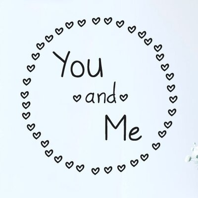 Cut It Out Wall Stickers You and Me Surrounded By Mini Hearts Wall Sticker