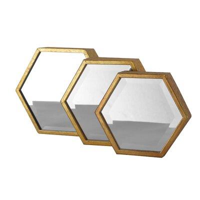 EMDÉ 3 Piece Hexagon Mirror Set