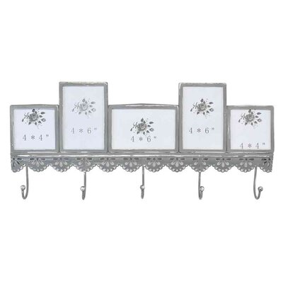 EMDÉ Shabby Elegance Wall Mounted Coat Rack with Multiple Picture Frame