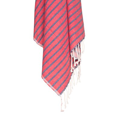 Nautical Peshtemal 100% Cotton Beach Towel Color: Red
