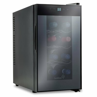 8 Bottle Ivation Single Zone Freestanding Wine Cooler with Digital Temperature Display