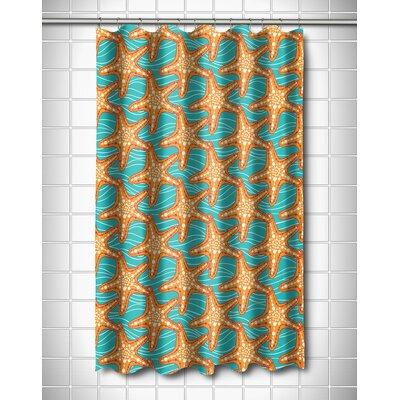 Coastal Starfish in Waves Shower Curtain