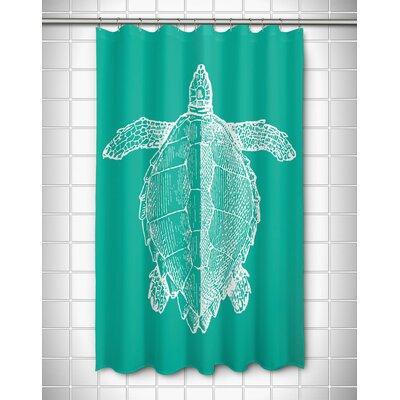 Vintage Coastal Sea Turtle Shower Curtain Color: Aqua