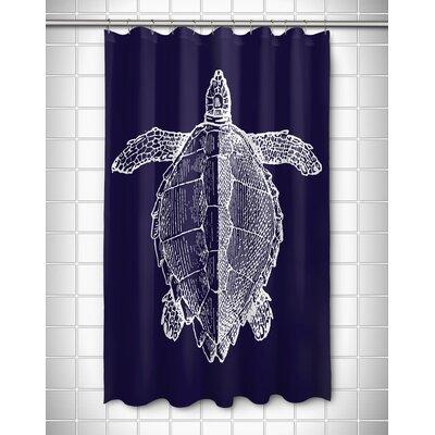 Vintage Coastal Sea Turtle Shower Curtain Color: Navy