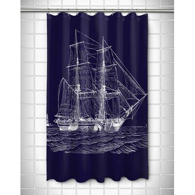 Vintage Coastal Ship Shower Curtain Color: Navy
