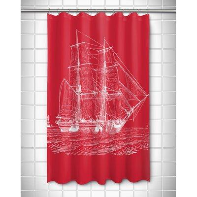 Vintage Coastal Ship Shower Curtain Color: Red