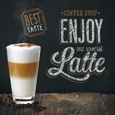 Pro-Art Glasbild Enjoy Latte, Kunstdruck