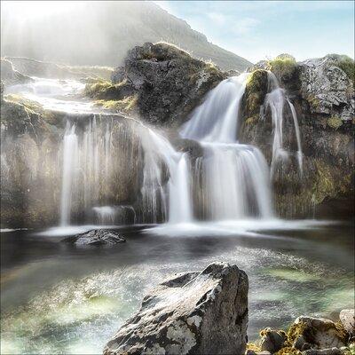 Pro-Art Glasbild Black & White Waterfall, Kunstdruck