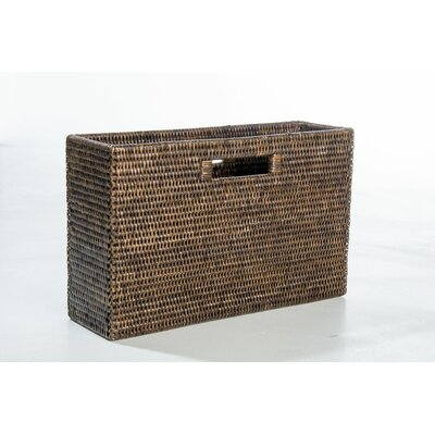 Rattan Slim Magazine Holder Color: Espresso