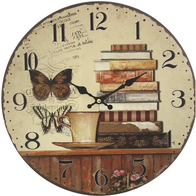 dio Only for You Analoge Wanduhr Bücher 34 cm
