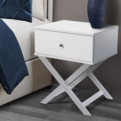 Brand Bedside 2 Drawer Nightstand Color: White/White