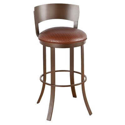 "Patricia 26"" Swivel Bar Stool Frame Finish: Flintrock Gray, Upholstery: Ford Red"