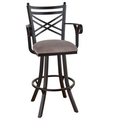 """Rochester 30"""" Swivel Bar Stool Frame Finish: Sun Bronze, Upholstery: Radiance Pewter"""