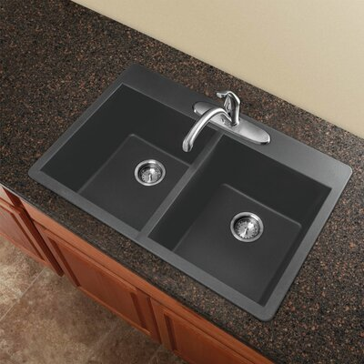 "Radius 33"" L x 22"" W Granite Double Equal Drop-in Kitchen Sink Finish: Grey"