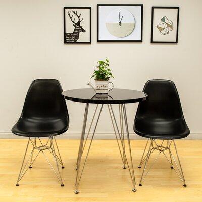 Confer 3 Piece Dining Set Chair Finish: Black, Table Finish: Black