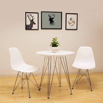 Confer 3 Piece Dining Set Table Finish: White, Chair Finish: White