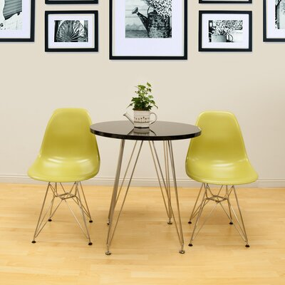 Confer 3 Piece Dining Set Chair Finish: Green, Table Finish: Black